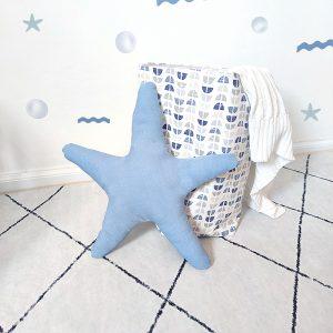 כריות מעוצבות לחדר ילדים - כרית כוכב ים תכלת