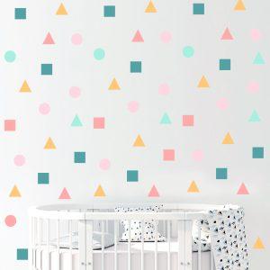 מדבקות קיר לחדר ילדים - מדבקות קיר צורות גיאומטריות