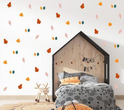 מדבקות לחדר ילדים - מדבקות קיר עלים צבעוניים