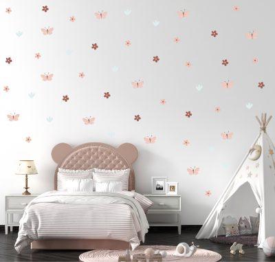 מדבקות קיר פרפרים - מדבקות קיר פרחים