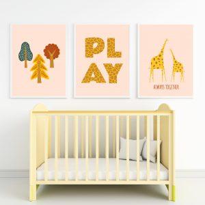 הדפסים לחדרי ילדים - תמונות ג'ירפה
